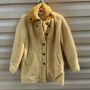 Vintage Hudson's Bay Wool Coat Lined Yellow 14 (L)